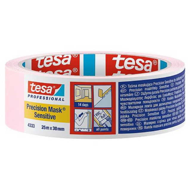 Малярная лента для деликатных поверхностей, розовая 25 м * 30 мм (14 дней) TESA