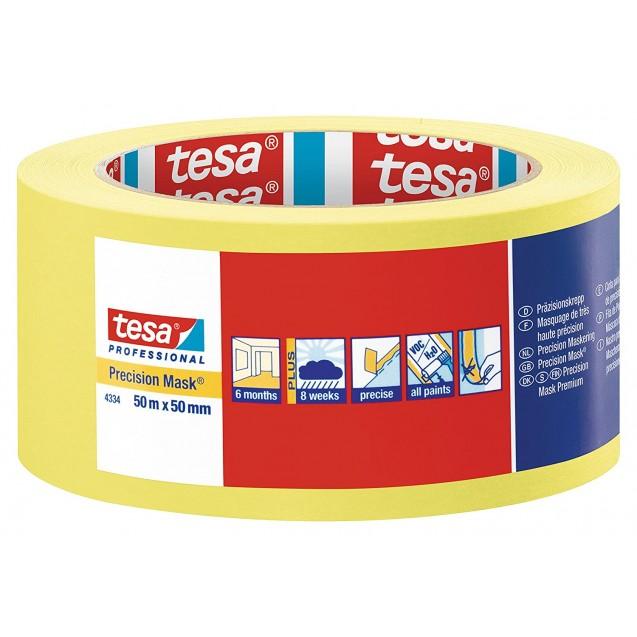 Малярная лента чёткий край 6 месяцев, жёлтая 50 м * 50 мм (6 мес) TESA