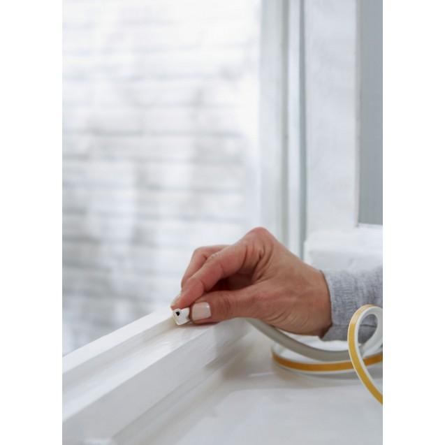 Резиновый уплотнитель Р-образный для герметизации окон и дверей, белый 6 м TESA