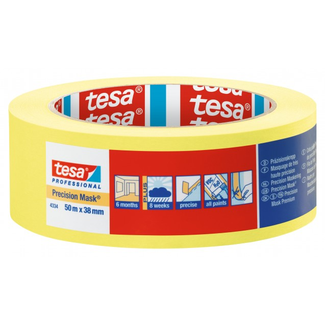 Малярная лента чёткий край 6 месяцев, жёлтая 50 м * 38 мм (6 мес) TESA