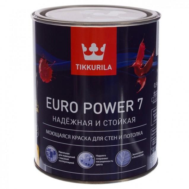 Краска интерьерная стойкая к мытью Tikkurila Euro Power 7 А матовая 0.9 л