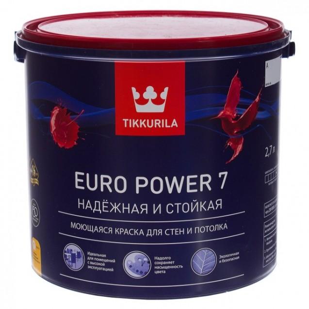 Краска интерьерная стойкая к мытью Tikkurila Euro Power 7 А матовая 2.7 л