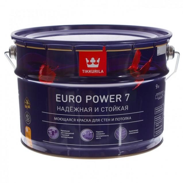 Краска интерьерная стойкая к мытью Tikkurila Euro Power 7 А матовая 9 л