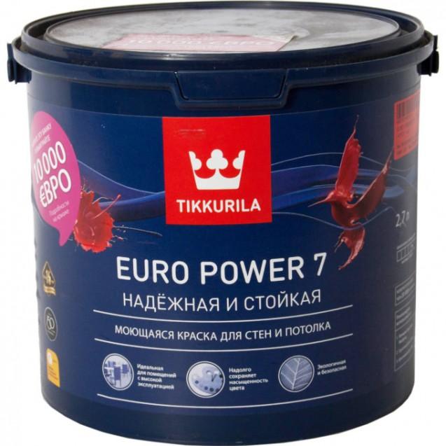 Краска интерьерная стойкая к мытью Tikkurila Euro Power 7 С матовая 2.7 л