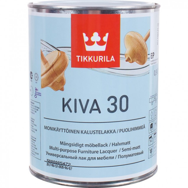 Лак акрилатный Tikkurila Kiva 30 EP полуматовый 0.9 л