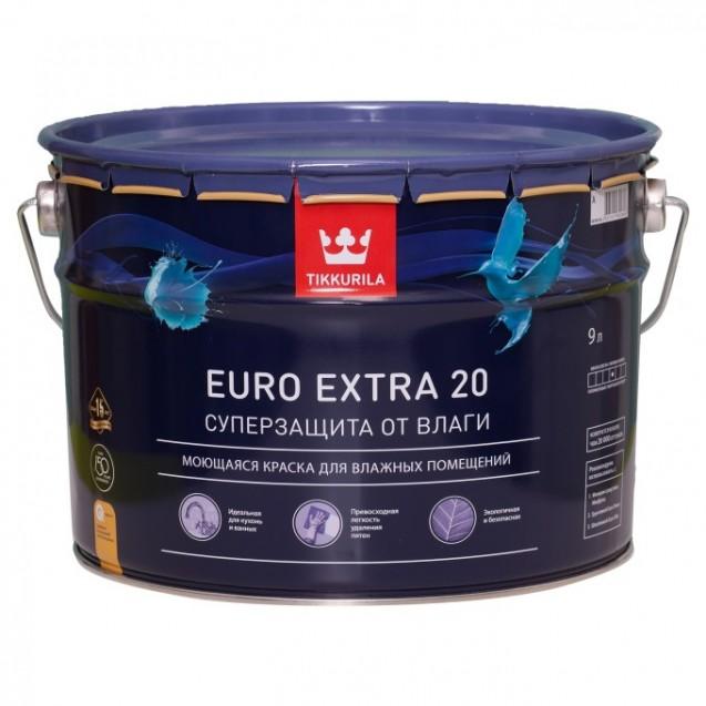 Краска для влажных помещений Tikkurila Euro Extra 20 А полуматовая 9 л