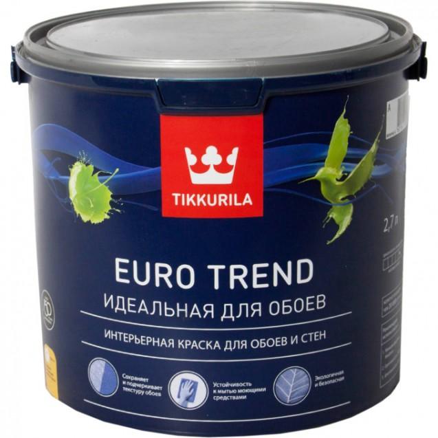 Краска для обоев и стен Tikkurila Euro Trend A матовая 2.7 л