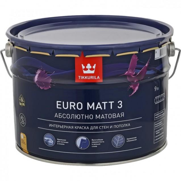 Краска Tikkurila Euro Matt 3 А глубоко-матовая 9 л